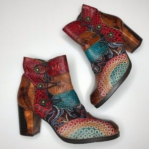 Boho Patchwork Ankle Boots by Socofy Size 8
